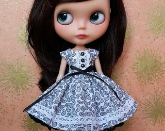 Black and White Paisley Print Blythe Dress and Petticoat Set