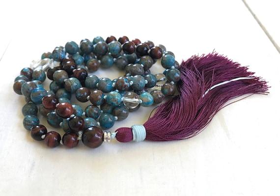Crazy Lace Agate And Red Tiger Eye Mala Bead Necklace, Gemstone Mala Necklace, Peace And Clarity Mala, Yoga Meditation Beads, 108 Mala Beads