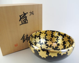 Japanese Lacquered Wooden Bowl , Japanese maple