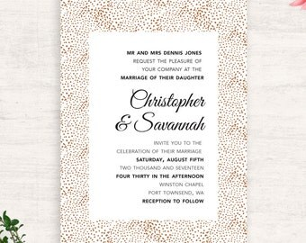Bronze Dot wedding invitations / Summer Spring Fall Wedding / Party Invitations / Printable Wedding Suite / Print at Home Wedding