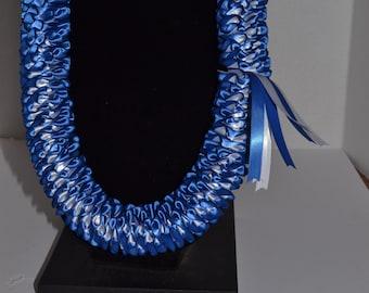 Hawaiian Lei Satin Ribbon Royal Blue with white 39inx2in
