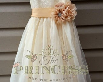 flower girl dress, flower girl dress champagne, flower girl dress lace, flower girl dress rustic, vintage wedding, wedding dress,flower girl