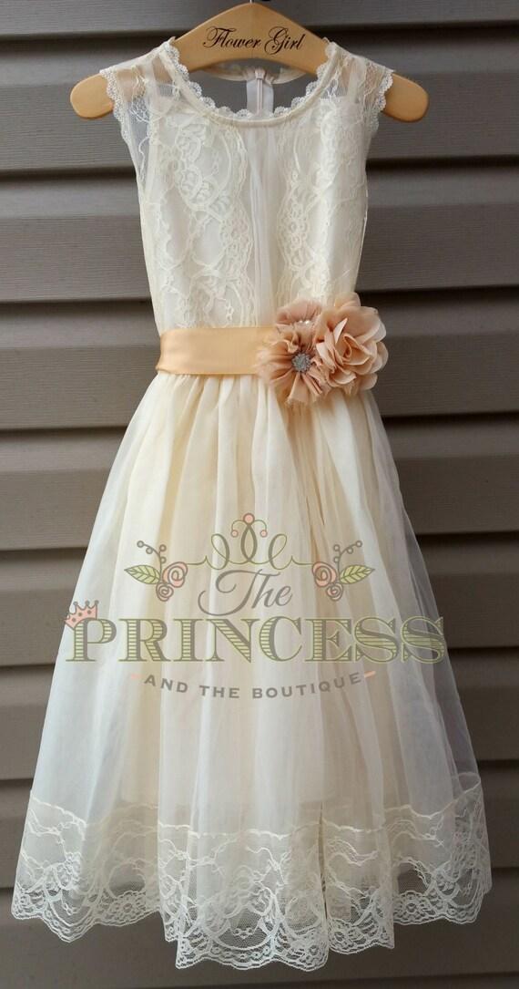 Flower girl dress flower girl dress champagne flower girl for Flowers for champagne wedding dress