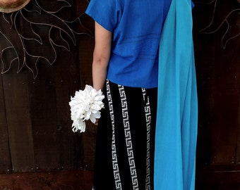 Vintage 1970's Black/Silver Maxi Woven Wrap Skirt, Ethnic, Bohemian, Folk