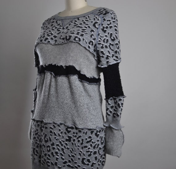 Leopard Sweater Dress - Up-cycled Sweater Dress - Eco-friendly Clothing - Sweater Tunic Dress - Leopard