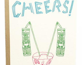 Cheers! - Congratulations Tiki Style -  Hand Drawn Greeting Card