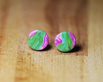 Earrings For Sensitive Ears - Round Stud Earrings - Hypoallergenic Studs - Earrings For Delicate Ears - Polymer Clay Jewellery - Plastic