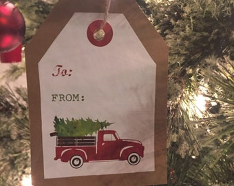Red Truck Brown Kraft Paper Gift Tags