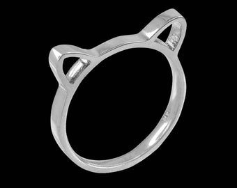 Kitten Silhouette Ladies Stackable Ring Band Kitty Cat Kitten Ears Stackable Ladies Ring Kitty Cat Bridesmaids Gifts Bridesmaid Gift