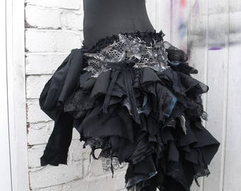 Black tattered bustle skirt Rara Skirt Mori Girl Pixie skirt Fairy skirt Psy Trance skirt Steampunk Kawaii style Gothic Lolita OOAK