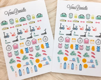 64 Kawaii Weight Loss Stickers,Fitness Planner Stickers, Kawaii stickers, Fitness planner, Weight loss Planner, Health Stickers,