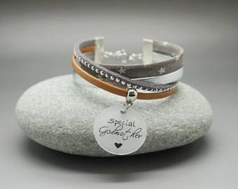 """bracelet liberty and leather """" special godmother"""" - godmother gift - custom gift"""