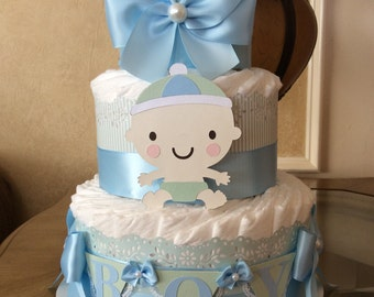 Boy diaper cake/Baby boy diaper cake/Light blue and mint diaper cake/Boy baby shower centerpiece/Newborn gift for baby boy