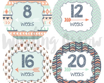 Baby Bump Stickers Pregnancy Week by Week Maternity Shirt Belly Photo Prop Tribal Stickers Baby Boy Baby Girl Expecting Mom Hipster Arrows
