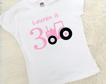 Personalised Tractor Birthday T-Shirt 1st, 2nd, 3rd, 4th, 5th Girls Tractor Top, Girly Tractor, Birthday Gift, Party Outfit, UK