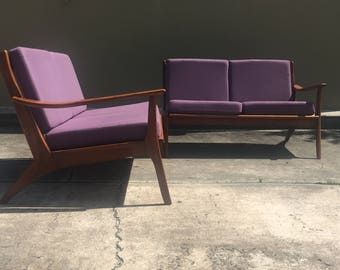Mid Century Modern two piece sofa - Danish Modern retro modular couch