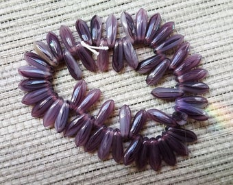 Purple Opaque Dagger Beads - 1 Strand (50) 10x4 with Cream Streakies
