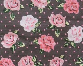 Set of 2 pcs 3-ply ''Roses, dots'' paper napkins for Decoupage or collectibles 33x33cm, Servietten, Floral napkins, Decopatch napkins