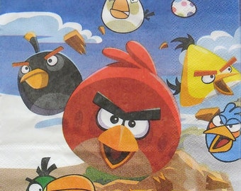 Set of 2 pcs 2-ply ''Angry Birds'' paper napkins for Decoupage or collectibles 33x33cm, Cartoon napkins, Kids napkins, Servetten