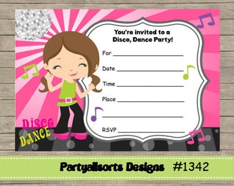 DIY - FILL IN Yourself Dance/ Disco/Childrens Party Invitations Instant Download