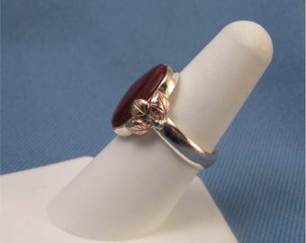 Silver And Gold Red Jasper Ring