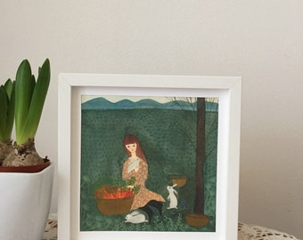 Water colour illustration print, art print,landscape illustration print, girl in the carrot harvest and rabbits illustration