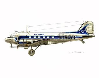 1970 Vintage Airplane Print. Douglas DC3.  Antique Aircraft illustration. Aviation. Historical Flying Flight.