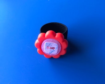 Funky floral ring, button ring, red ring