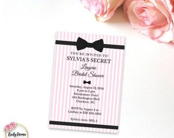Victoria's Secret Inspired - Pink and Black - Bridal Shower - Lingerie Shower - Printable Invitation - Digital Invitation - BEST SELLER