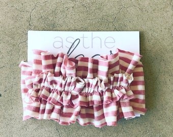 Desert rose and ivory striped || ruffled jersey knit headband