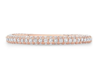 0.45 Ct. Round Cut Diamond Micro Pave 3 Sided Wedding Band or Anniversary Ring on 14K Rose Gold