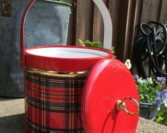 Red Plaid George Briard Vintage Mod Mid Century Ice Bucket