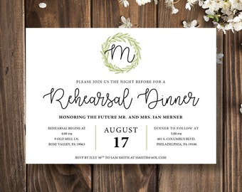 Rehearsal Dinner Invitation | Rehearsal Dinner Invitation Printable | Rehearsal Dinner Invitation Template | Wedding Rehearsal Invitation