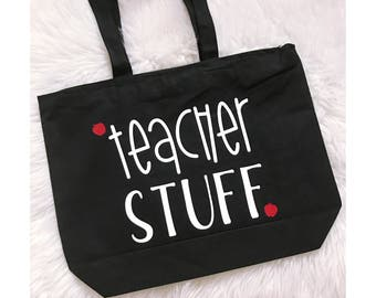 Teacher Stuff Zippered Canvas Tote Bag // Tote Bag // Zippered Tote // Canvas Bag // Handled Bag // Teacher Gift // Teacher Appreciation