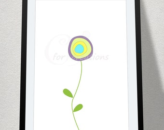 Modern printable flower art, digital print, wall art, printable wall decor, instant print