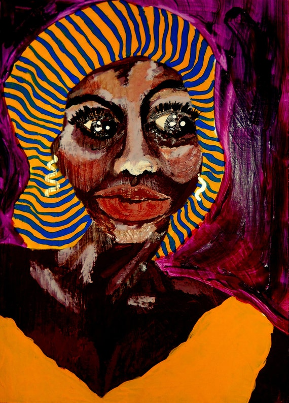 """AUNT LORNA 2, Acrylic painting on 10 x 13.75"""" primed cardboard, Outsider Folk Art, African American Artist Stacey Torres"""