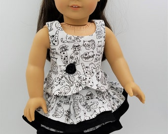"""Party Dress for 18"""" Dolls Like American Girl, Ruffled Skirt and Top for Dolls Like American Girl, Kitty Cat Outfit for Dolls, Doll Skirt"""