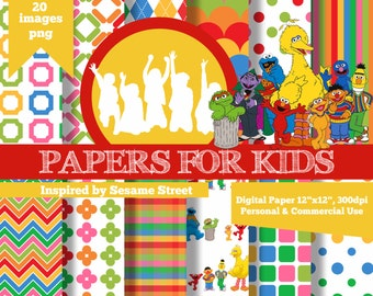 Digital Papers, Sesame Street, Background, Kids, Birthday, Clipart, Papers for kids