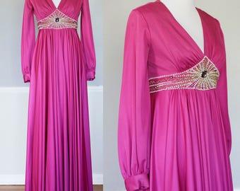 Pink Evening Gown | International Ladies' Garment Workers' Union 705958 | Beaded Waist | Long Sleeve | Magenta