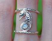 Reserved for Judy - Seahorse Moonstone Double Band Ring