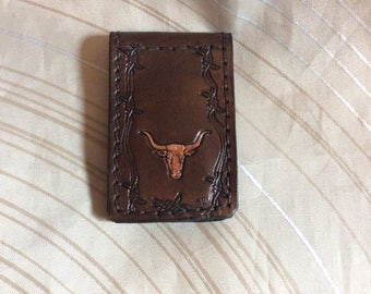 Cow wallet,Leather Magnetic money clip wallet,minimalist money clip billfold,hand carved billfold,Ranchers wallet,groomsmen gift,Father Day