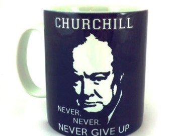 New Winston Churchill 'Never, Never, Never Give Up' 11oz Gift Mug Cup present
