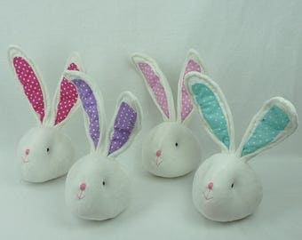 "14"" Plush Bunny Heads - 4 Colors/Wreath Supplies/Easter Decor/61952"
