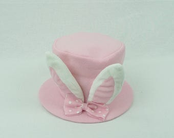 "6"" Plush Pink Bunny Ear Top Hat/Wreath Supplies/Easter Decor/ 61957PK"
