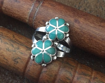 Vintage Sterling Silver and Turquoise Flower Ring, Size 8