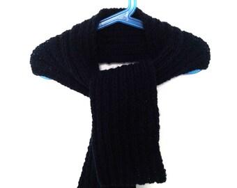 Scarf boy - scarf handmade knit - Navy Blue scarf.