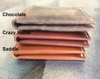 Raw Edge Bifold Wallet, Hand Stitched, Heavy Nylon Thread, Made in USA, Bifold Wallet, Handmade, Leather Bifold Wallet,Bifold Leather Wallet