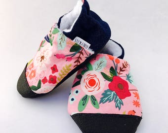 Floral Baby Shoes, Baby Girl Shoes, Soft Sole Baby Shoes, Baby Slippers, Denim Baby Shoes, Toddler Slippers, Baby Booties,  Baby Moccasins