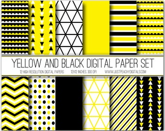 yellow and black modern digital scrapbook paper with geometric patterns