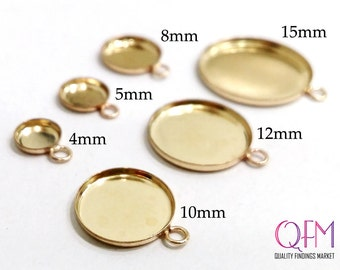 10 pcs Round Bezel cups with one loop Gold Filled avaleble sizes: 15mm, 12mm, 10mm, 8mm, 5mm, 4mm